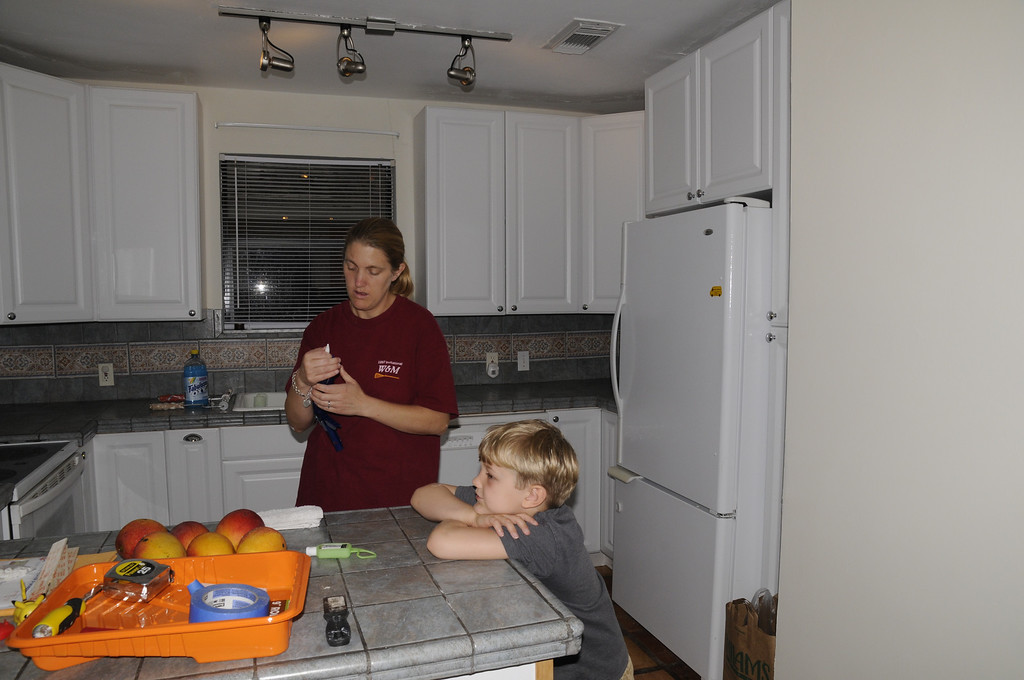 Sarah and Bailey, the 6 year old. eldest of 3 kids. Sarah designed the house with her father.