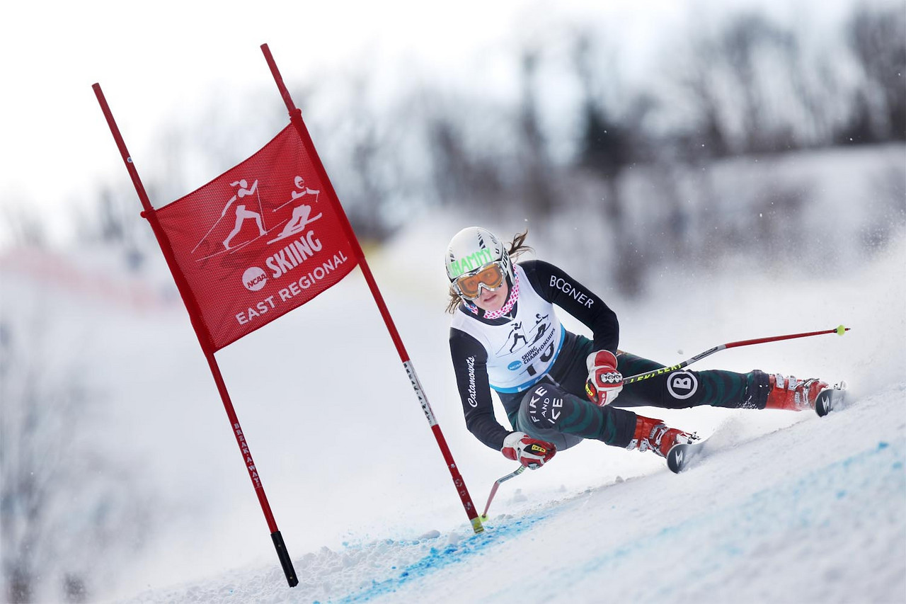 The University of Vermont's Bryana Park takes the win at the Middlebury Carnival and Eastern Championship Giant Slalom Race at the Middlebury Snowbowl in Hancock, VT.<br /> <br /> Credit: Lincoln Benedict / EISA