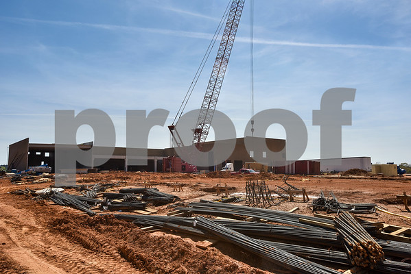 at the construction site for a new Sanderson Farms processing plant in Tyler, Texas, on Wednesday, March 21, 2018. (Chelsea Purgahn/Tyler Morning Telegraph)