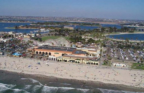 Aerial view of Belmont Park, Pacific Ocean, and Mission Bay