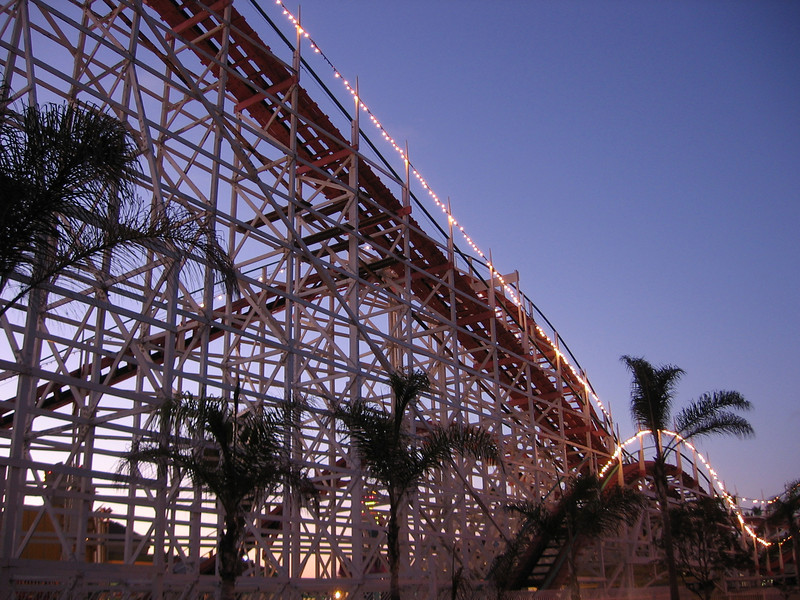 Wooden roller coaster and historic landmark
