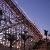 Wooden roller coaster and historic landmark