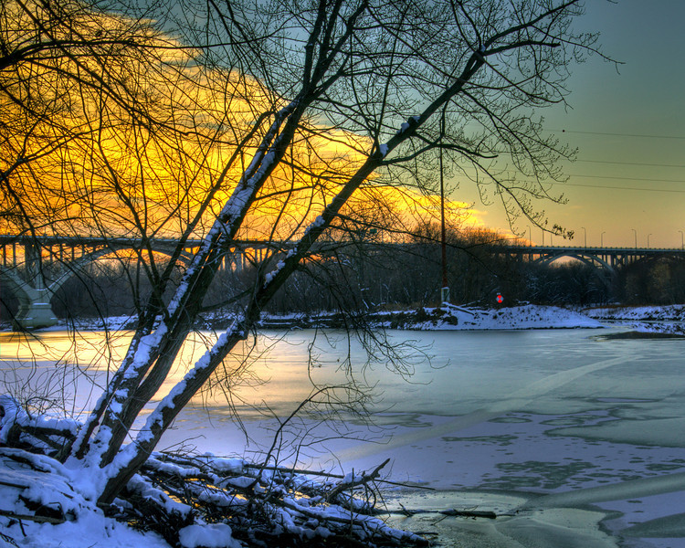 348/365-Sunset over the frozen Minnesota River