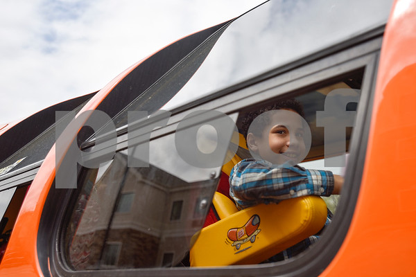 Richard Kauffmann, 9, looks out the window of the Oscar Mayer Wienermobile in Tyler, Texas, on Tuesday, March 7, 2017. The Wienermobile will be visiting various Walmarts in Tyler and Lindale through the rest of the week for community events. (Chelsea Purgahn/Tyler Morning Telegraph)
