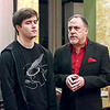 "Mark Maynard | for The Herald Bulletin<br /> Hamlet (Ryan Claus) is lectured by his Uncle Claudius (Rick Vale) in the Alley Theatre's production of Shakespeare's ""Hamlet"" presented at the Anderson Museum of Art."