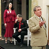 """Mark Maynard   for The Herald Bulletin<br /> Gertrude (Rhonda Tinch-Mize) and Claudius (Rick Vale) endure another meandering speech from Polonius (Andrew Persinger) in """"Hamlet"""" at the Anderson Museum of Art."""