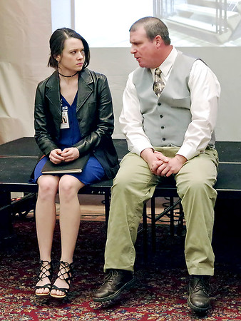 Mark Maynard | for The Herald Bulletin<br /> Polonius (Andrew Persinger) talks to his daughter, Ophelia (Alaina Porch), about her relationship with Hamlet.
