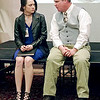 Mark Maynard   for The Herald Bulletin<br /> Polonius (Andrew Persinger) talks to his daughter, Ophelia (Alaina Porch), about her relationship with Hamlet.