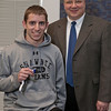 Shawnee High School student Eli Tucker won second prize in the individual advanced category at the 38th annual Trine University Mathematics Competition on Jan. 25 at the university.  Standing with Tucker is Bill Barge, chair of Trine's department of math and informatics.