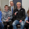 Shawnee High School math students, from left, Brooke Heatwole, Eli Tucker, Zachary Diltz and Kirstan Scott, took second prize in team competition. In back is Bill Barge, Trine's chair of the mathematics and informatics department.
