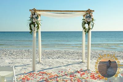 Ivory Fabric, Small Arrangements, Coral & Cream Rose Petals