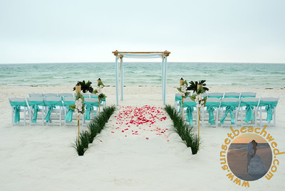 4 Post Bamboo Arbor in Tiffany Blue and White, Light and Dark Pink Rose Petals