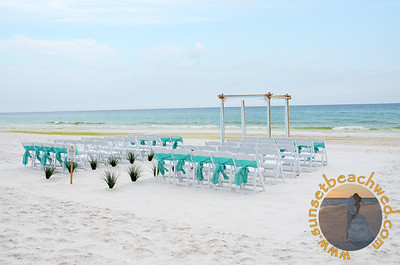 Tiffany Blue & White Fabric, Tiffany Chair Sashes, Shown without Palm Trees