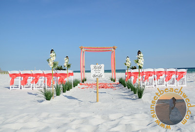 Coral Chair Sashes, Rose Petals, and Fabric