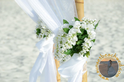 Tied White Floral Arrangements