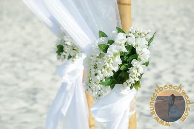 Tied White Floral Arrangements