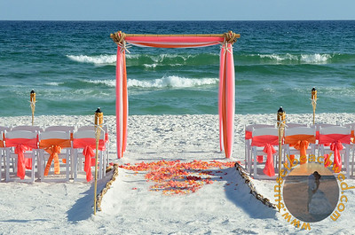 Coral and Orange Colors with Aisle Runner, no Seagrass, and Starfish Tikis