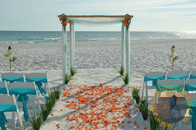 Turquoise & White Fabric, Turquoise Chair Sashes, Orange Rose Petals