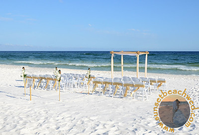 Champagne & White Fabric, Champagne Chair Sashes, Shown without Palm Trees