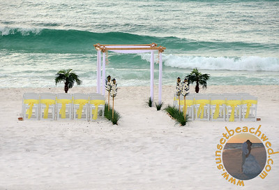 White Arbor Fabric with Yellow Chair Sashes