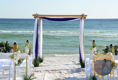 Royal Purple and White Fabric with White Orchid Tikis, Palm Trees, and Seagrass.