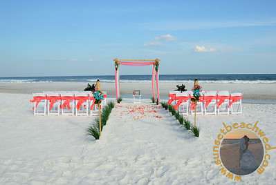 Coral & White Fabric, Coral Chair Sashes, Coral Rose Petals, Shown with optional Small Arrangements on Arbor
