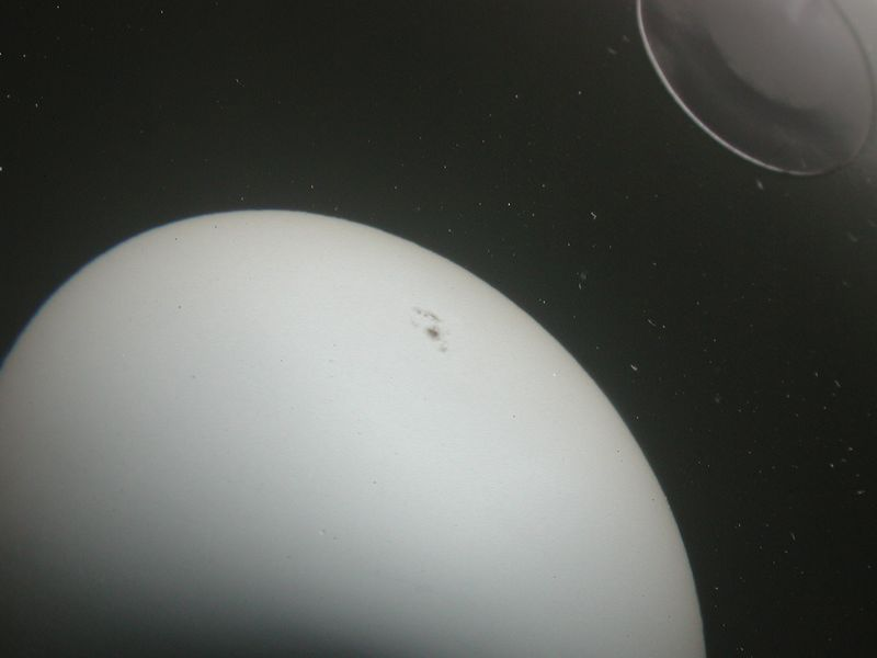 Close up of the ptojected sun image.