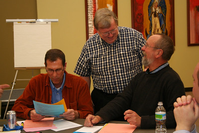 Fr. Bill Pitcavage works with Frs. Guy Blair and Byron Haaland.