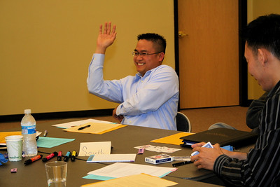 All about Thi!  Fr. Thi Pham drew the top card and became provincial superior of his table.