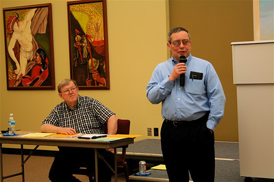 Br. Frank Presto introduces the afternoon session.  Fr. Bill Pitcavage, moderator, looks on.