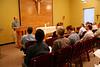 Participants listen during morning prayer.
