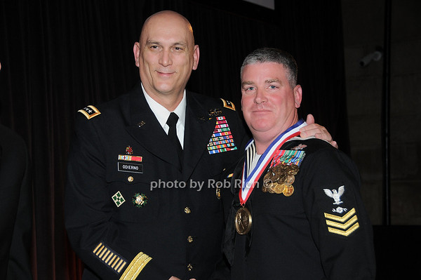 General Raymond T.Odierno, CM1 William J. Albano, US Navy, recepient of the George Van Cleave Military Leadership Awards<br /> photo by Rob Rich © 2009 robwayne1@aol.com 516-676-3939