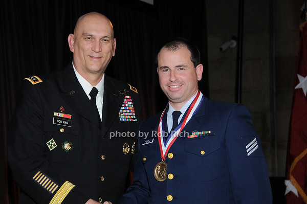 General Raymond T.Odierno, Seaman Jake Candel receiving award for Coastguardsman of the Year , BM2 Benjamin Foster, recepient of the George Van Cleave Military Leadership Awards<br /> photo by Rob Rich © 2009 robwayne1@aol.com 516-676-3939
