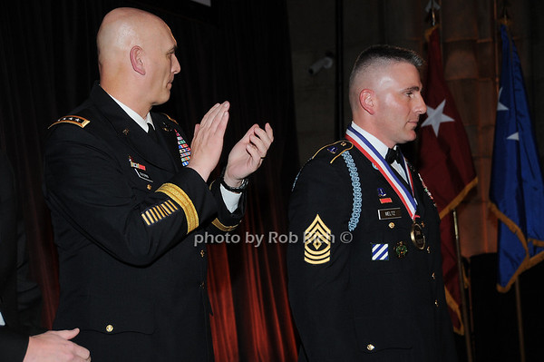 General Raymond T.Odierno, First Sargeant James Meltz, US Army, recepient of the George Van Cleave Military Leadership Awards<br /> photo by Rob Rich © 2009 robwayne1@aol.com 516-676-3939