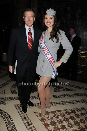 Brian Williams, Miss USO Heidi-Marie Ferren<br /> photo by Rob Rich © 2009 robwayne1@aol.com 516-676-3939