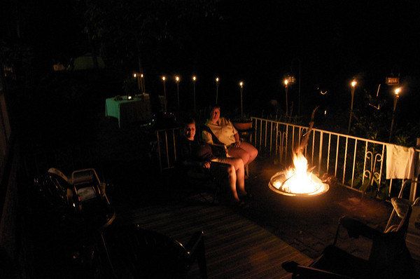 Kim and Deb enjoying the firepit on the patio at Riverhouse July 4th, 2008
