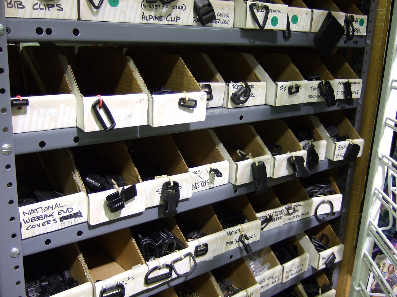Bins of buckles, clips, and more at Mill End in Reno.