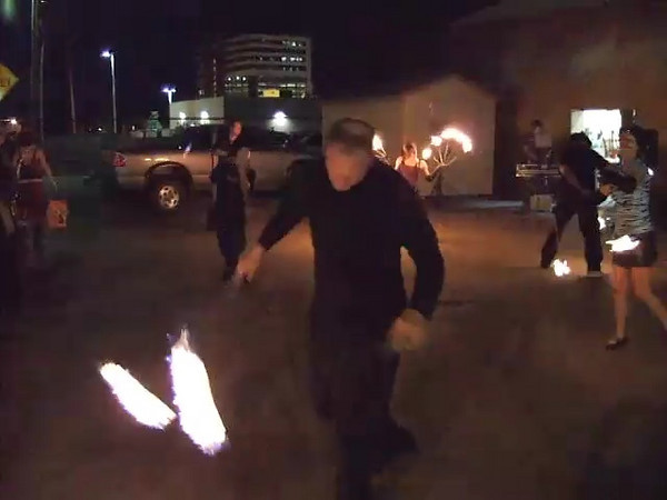 Reno fire spinners at a Dada Motel performance.