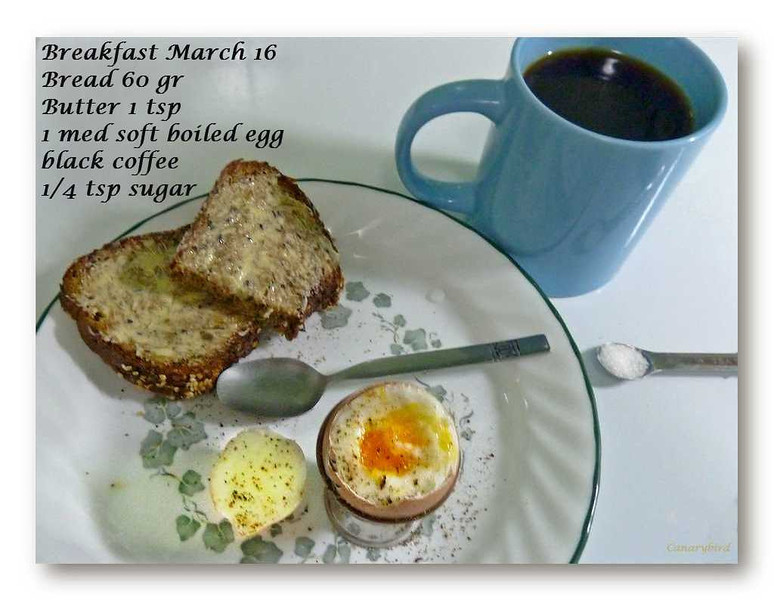 This was a 277 calorie breakfast: ProBody bread...171 cal; 1 tsp butter...34 cal; boiled egg...68...black coffee and 1/4 tsp sugar...4.