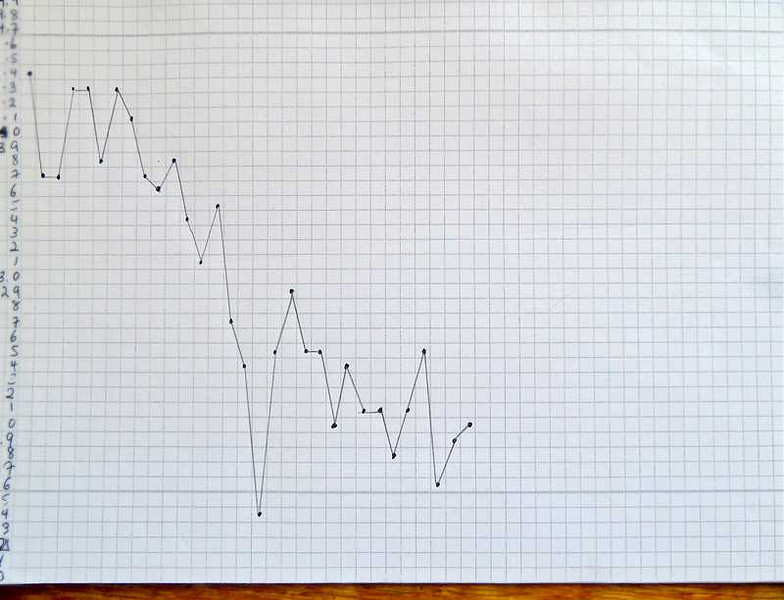 My weight graph at the time in grams (notice I didn't let you see the kilos amount,)  but you can see how it does go up and down every day (the days are across the top of the graph) but the general shift is downward.  Helps a lot to see it this way to get over the disappointments of the ups when they happen, but they are always followed by a jump downward again.