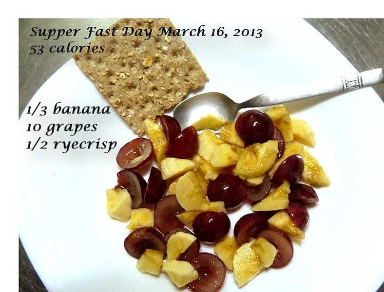 1/3 banana...15 calories; 10 grapes...20 calories; 1/2 Wasa ryecrisp...18 calories.