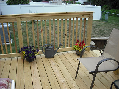 Our new deck on the back of the house built mostly by J.R. and the boys with Paulie's help and guidance.