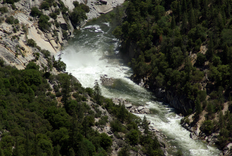 The water rushing off the spillway into the San Joaquin River