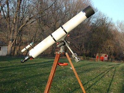 6 inch f-10 Jaegers refractor on slightly modified Edmund Scientic Co. mount. Photo taken in my back yard with telescope facing east.