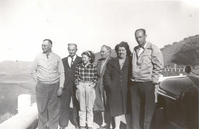 A visit to California.  Grandpa Enoch Harmer-Havens Nebeker, Great Grandfather Nebeker,Aunt Elva Darlene Nebeker Smith, Great Grandmother (Monk) Nebeker, Grandma Gwen Gardner Nebeker, Great Uncle Rex Nebeker.