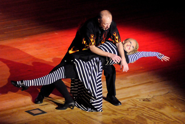 Don Knight / The Herald Bulletin<br /> Dr. William Kopp dances the single-time swing with Monica Lung during the Dancing Like the Stars Benefit at the Paramount on Saturday.