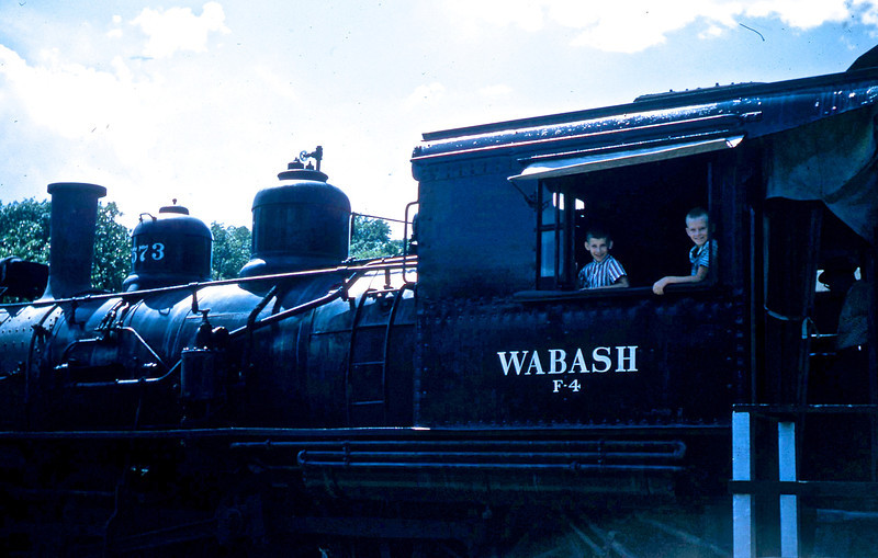 William A. Shaffer and Don Henning in the cab of a Wabash F-4 Steam Locomotive.