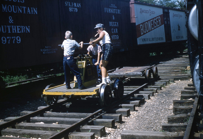 Don Henning and William A. Shaffer pumping a handcar at the National Museum of Transport.