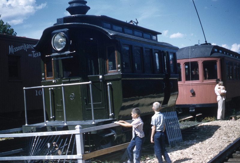 William A. Shaffer and Don Henning insp3cting a locomotive at the National Museum of Transportation.