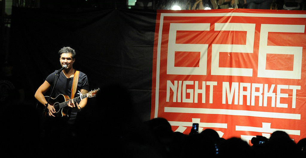 . Music artist Joseph Vincent performs during the 626 Night Market at Santa Anita Park in Arcadia, Calif., on Saturday, Aug. 16, 2014.  (Photo by Keith Birmingham/ Pasadena Star-News)